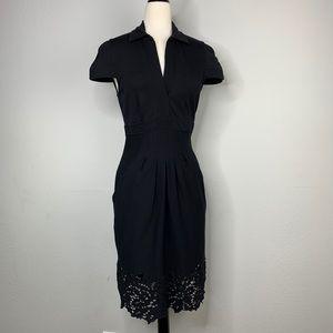 BCBG Laser Cut Bottom Black Midi Sheath Dress
